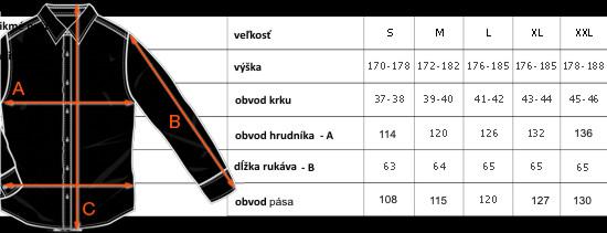 Tabuľka rozmerov košele klasický strih Pako Lorente