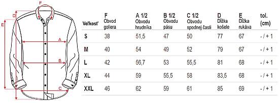 tabulka rozmerov