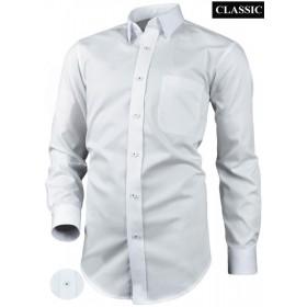 Bavlnená biela košeľa s podšívkou aj na manžetové gombíky klasický strih Victorio