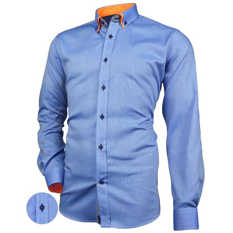 Košeľa s dvojitým golierom oxford modrá s oražnovými kontrastmi Victorio