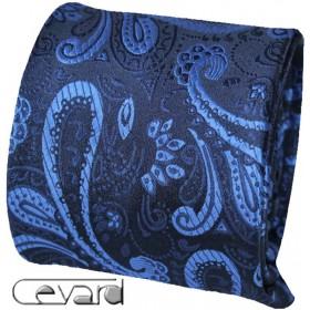 Kravata s vreckovkou tmavomodrá s modrým kašmírovým vzorom