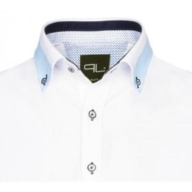 Biela košeľa s modrým lemom na golieri Pako Lorente
