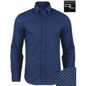Luxusná bavlnená košeľa tmavomodrá bodkovaná Pako Lorente