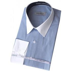 Biznis košeľa prúžkovaná modrá s bielym golierom Pako Lorente