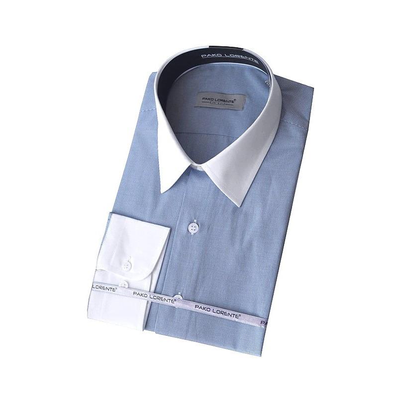 Košeľa slim fit modrá prúžkovaná s bielym golierom Pako Lorente