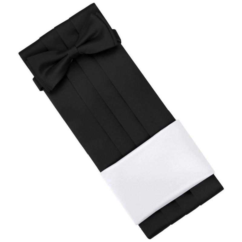 Čierny smokingový pás s motýlikom a vreckovkou