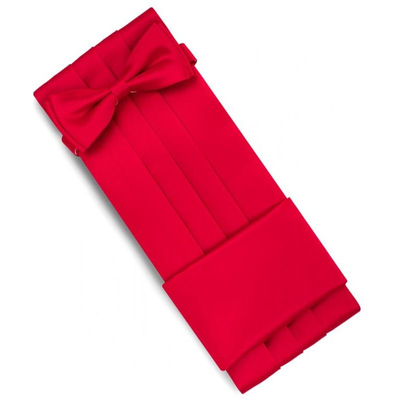 Červený smokingový pás s motýlikom a vreckovkou