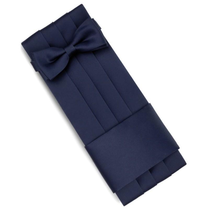 Modrý smokingový pás s motýlikom a vreckovkou