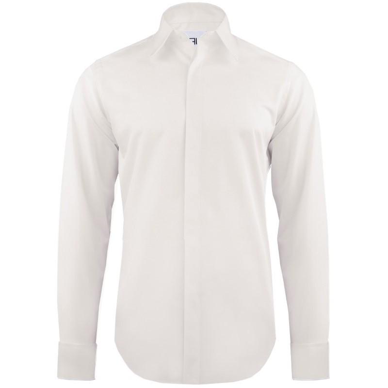 Luxusná bavlnená košeľa ivory na manžetové gombíky slim fit Pako Lorente