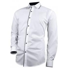 Biela košeľa s čiernym lemom légy a čiernymi gombíkmi slim fit Victorio