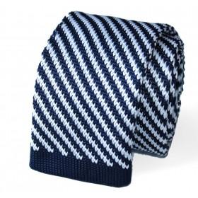 Pletená kravata modro-biela šikmé prúžky