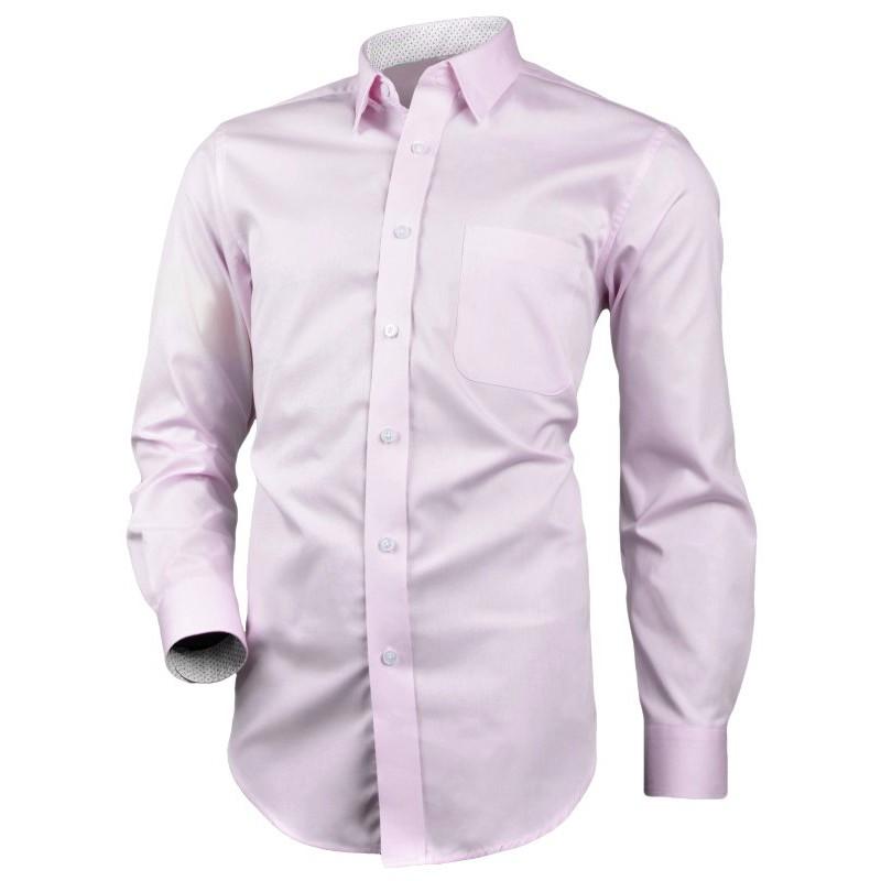Bavlnená košeľa bledoružová REGULAR strih so vzorovanou podšívkou Victorio