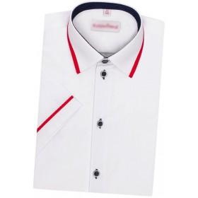Detská košeľa s krátkym rukávom biela s červeným lemom