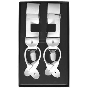 Traky na gombíky biele LUX s bielymi koženými prvkami