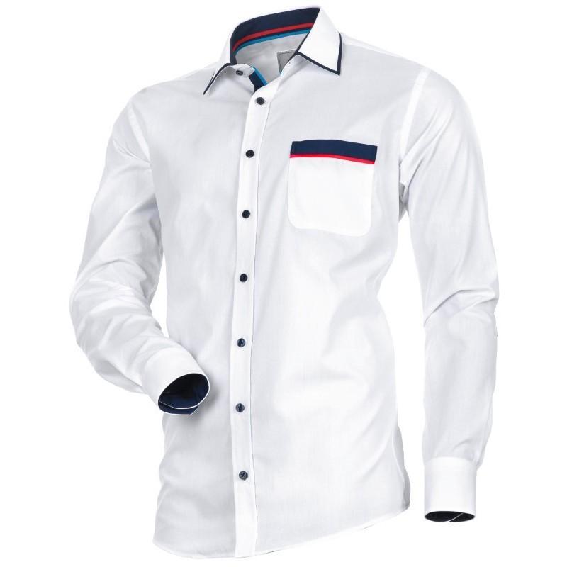 Biela košeľa slim fit s lemom goliera a modro-červeným lemom vrecka