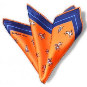 Hodvábna vreckovka Pako Lorente oranžová s granátovým lemom vzor pólo