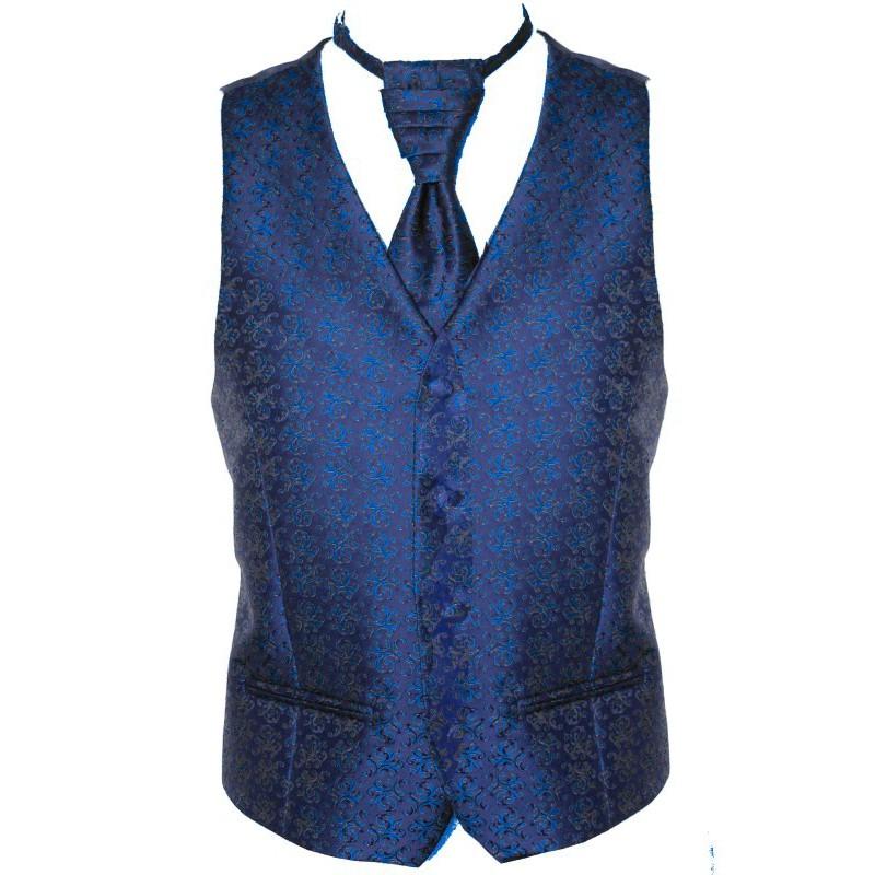Pánska vesta granátová s ornamentom parížska modrá