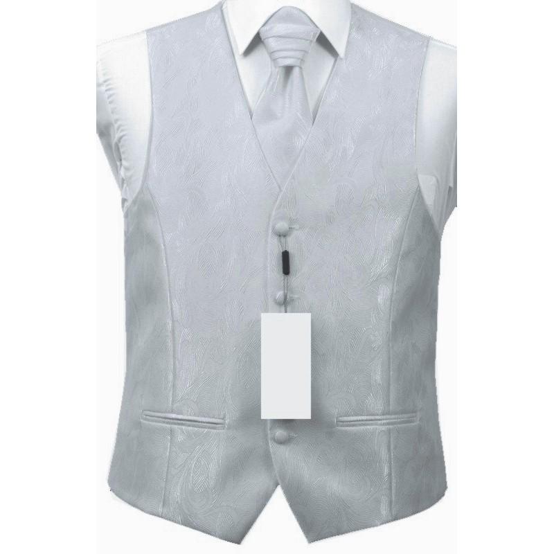 Svadobná vesta sivá s plastickým ornamentom