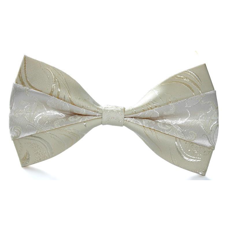 Smotanový motýlik so stredovým pásom champagne s ornamentom motýlik champagne so saténovým pásom