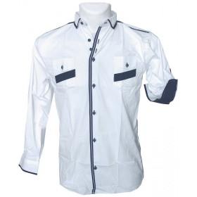 Chlapčenská košeľa so záplatami na lakťoch slim
