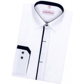 Chlapčenská košeľa biela s granátovým lemom slim