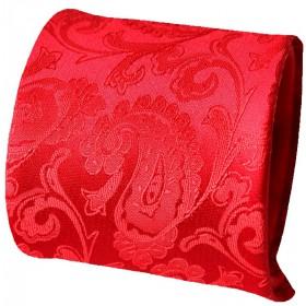Červená kravata s vreckovkou vzor paisley