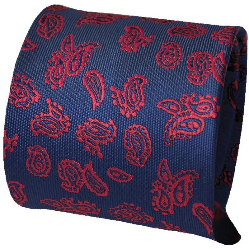 modrá kravata s čerevným vzorom