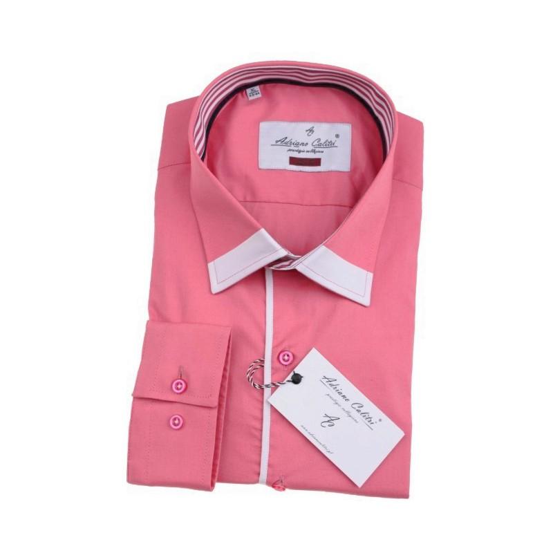 Košeľa ružová s bielym lemom goliera