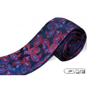Granátová kravata s červeno-modrým vzorom paisley