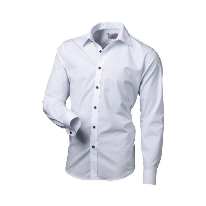 Biela košeľa s čiernymi gombíkmi slim fit VICTORIO
