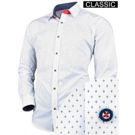 Vzorovaná košeľa biela klasický strih s drobným vzorom VICTORIO