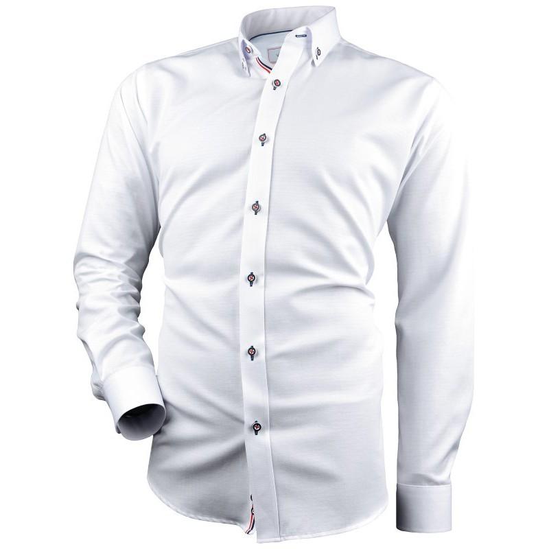 Biela vzorovaná košeľa s kontrastnou tricolorou VICTORIO