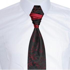 Francúzska kravata čierna s bordovým ornamentom