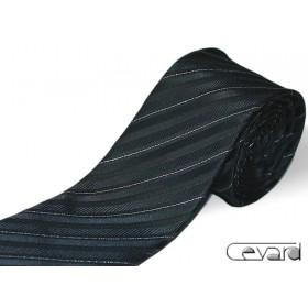 Čierna kravata so striebornými prúžkami