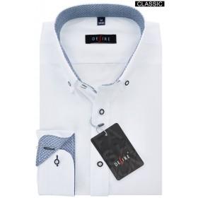 Biela košeľa s modro-bielou vzorovanou podšívkou klasický strih DESIRE by Victorio