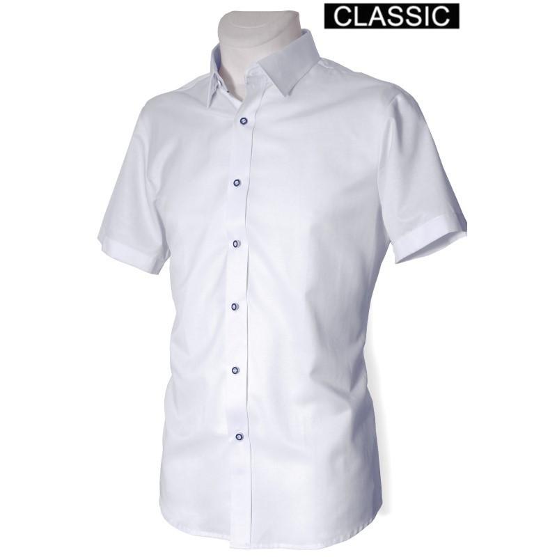 Košeľa s krátkym rukávom s kontrastnými gombíkmi klasický strih DESIRE by Victorio