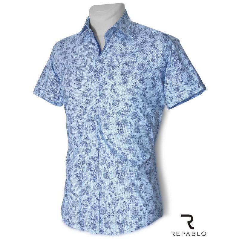 Košeľa slim fit svetlomodrá kvetovaná