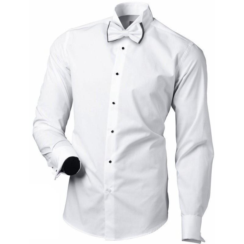 Fraková / smokingová košeľa biela na manžetové gombíky s čiernymi gombíkmi slim fit