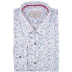Exkluzívna košeľa s modro-bordovou potlačou Victorio