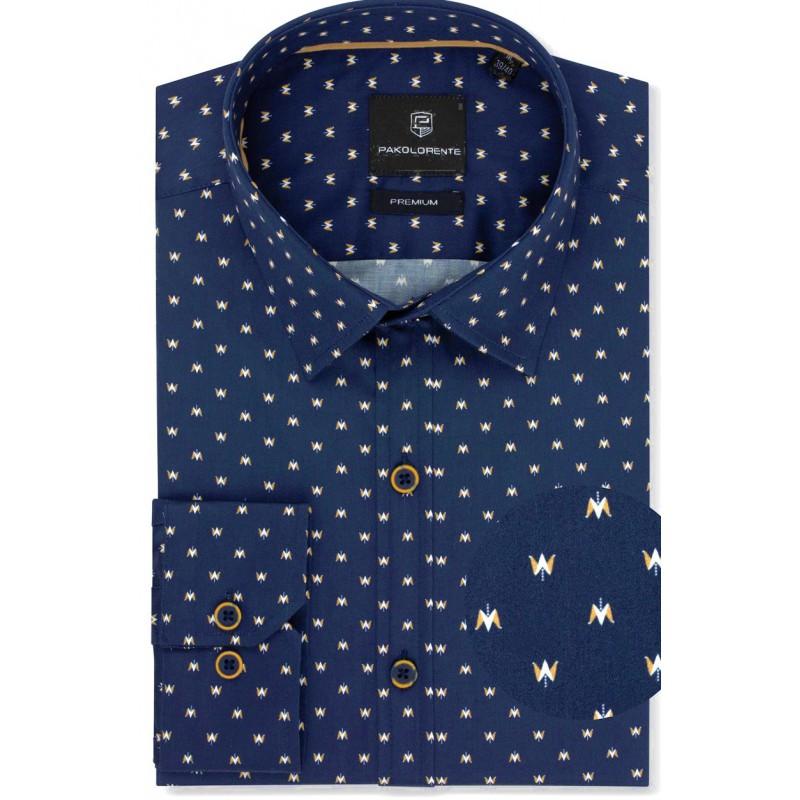 Luxusná vzorovaná košeľa granát so vzorom mustard PAKO LORENTE