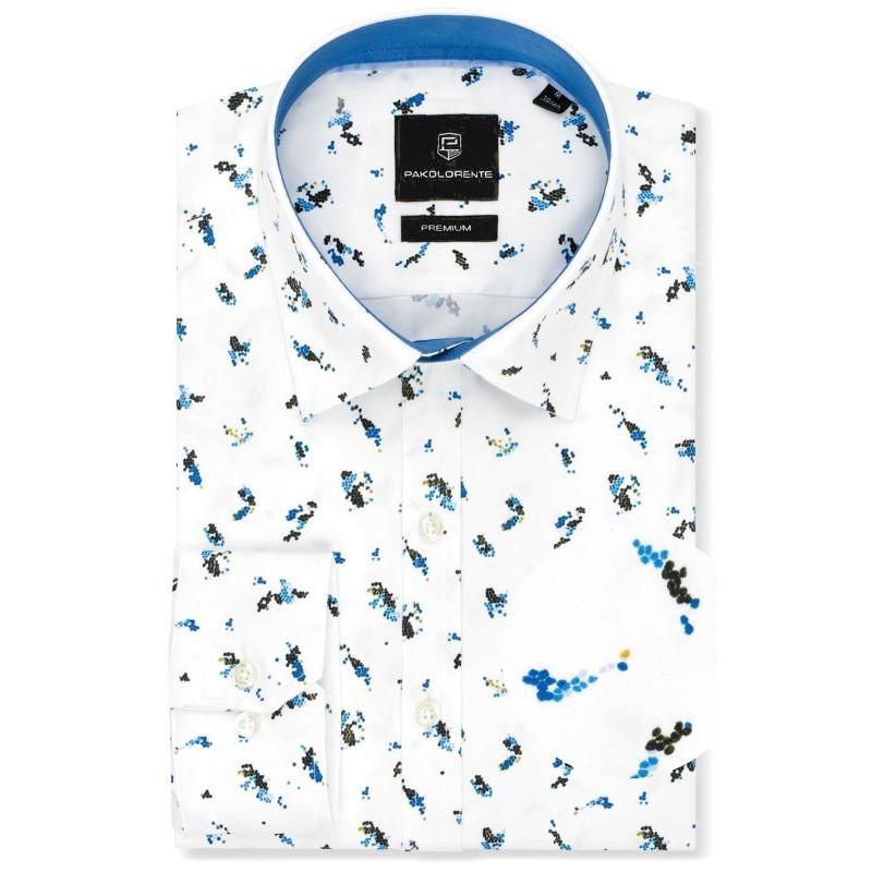 Luxusná vzorovaná košeľa biela s extravagantným farebným vzorom mustard PAKO LORENTE