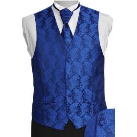 Pánska vesta s ornamentom parížska modrá na granátovom podklade