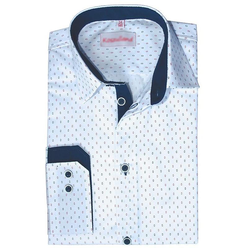 Chlapčenská košeľa s drobným červeným a modrým vzorom vzorom slim fit