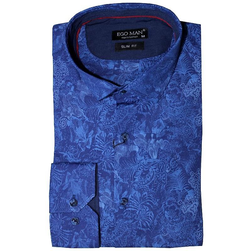 Exkluzívna košeľa modrá s rastlinným motívom EgoMan