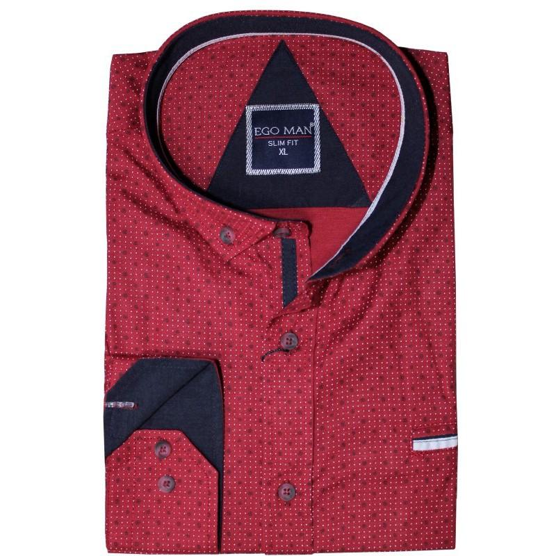 Exkluzívna košeľa bordová vzorovaná EgoMan