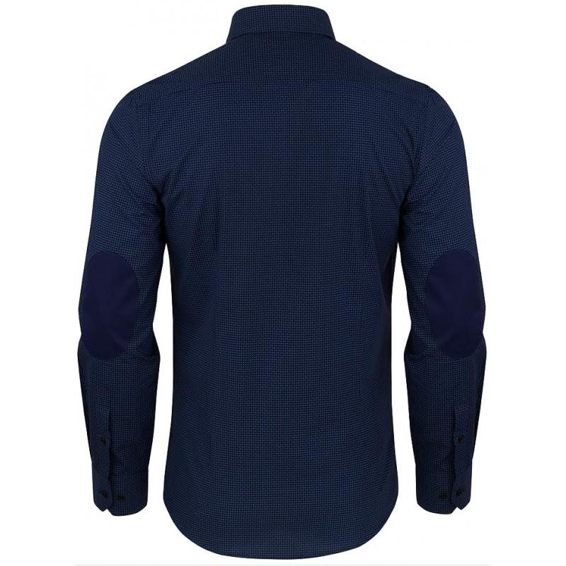 Bavlnená košeľa so záplatami na lakťoch modrá so vzorom paisley slim fit PAKO LORENTE