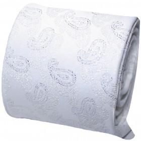 Biela svadobná kravata s vreckovkou so strieborným vzorom paisley