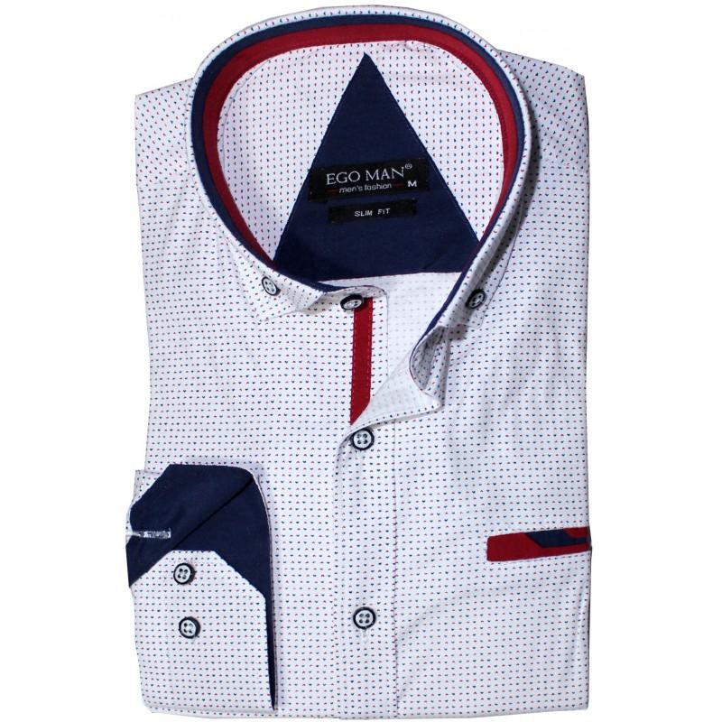 Vzorovaná košeľa biela s tmavomodrým a červeným vzorom EgoMan