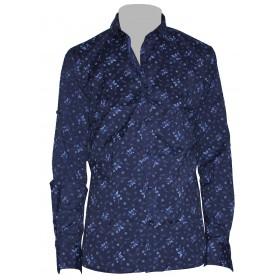 Kvetovaná košeľa tmavomodrá s modrým vzorom EgoMan