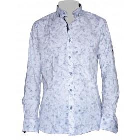 Vzorovaná košeľa biela s extravagantným modrým vzorom EgoMan